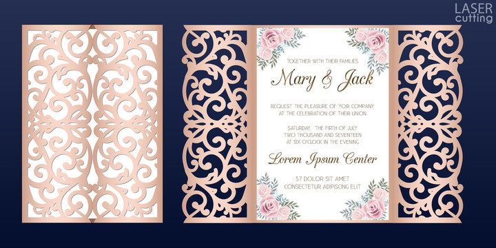 Laser cut wedding invitation card template vector. Die cut paper card with lace pattern. Cutout paper gate fold card for laser cutting or die cutting template. Wedding invitation with rose flowers.