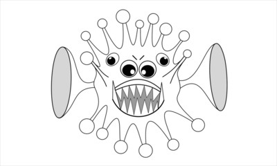 Computer virus with many eyes and big ears, black and white illustration