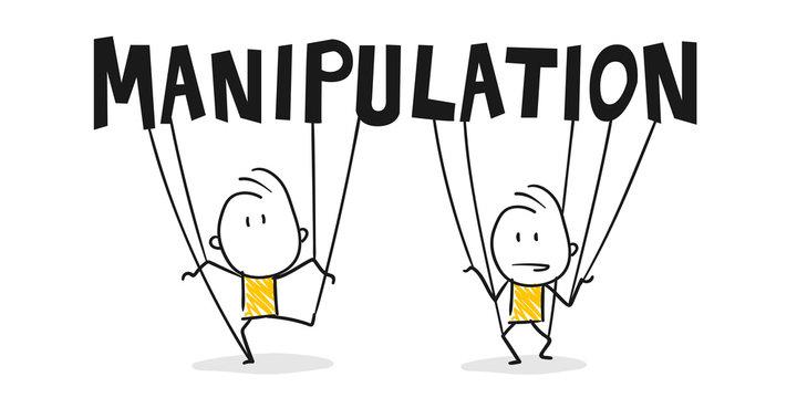 Strichfiguren / Strichmännchen: Manipulation, Kontrolle, Brainwashing. (Nr. 358)