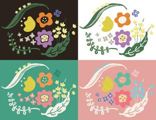 花、植物のパステルカラーのボタニカルアート