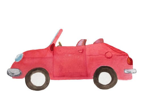 watercolor red cabriolet car with brown wheels, open roof on a white background for the design of cards, invitations, posters
