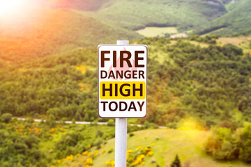 fire danger high today warning sign