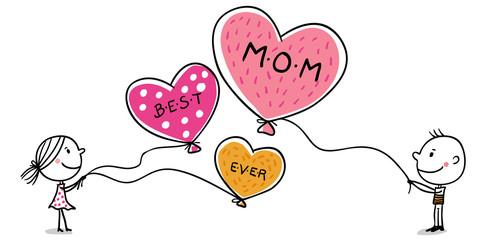 Mädchen und Junge wünschen Best Mom ever auf Luftballons