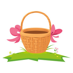 cute basket straw with bow ribbon