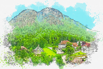 Watercolor sketch or illustration of a beautiful view of Schwangau in Germany. It is a small authentic town or village