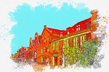Watercolor sketch or illustration of the beautiful view of the traditional architecture in Potsdam in Germany. View of the city street