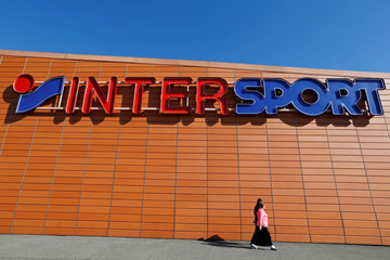 A logo of Intersport sporting goods store is seen in Toulouse