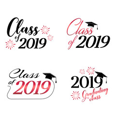 Class of 2019 card vector illustration design