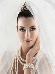 Closeup portrait of beautiful bride