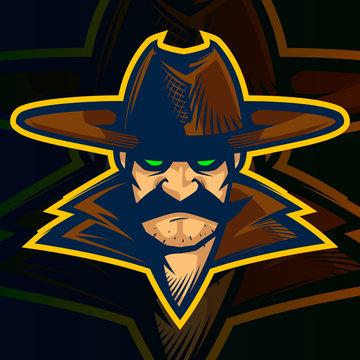 cowboy mascot logo illustration