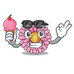 With ice cream gerbera flower sticks the mascot stem