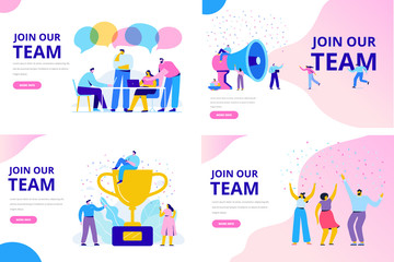 Join our team vector illustration concept. People together, teamwork. Flat style  illustration for web.