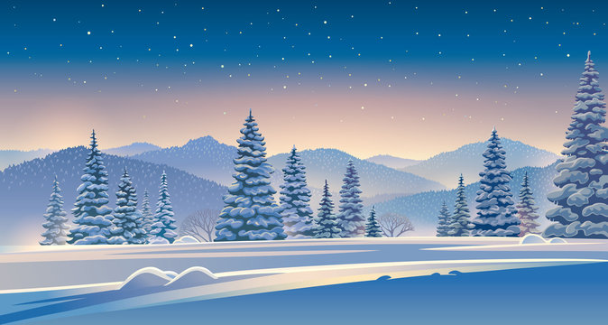 Winter evening landscape with mountains and snow-covered trees in the foreground.