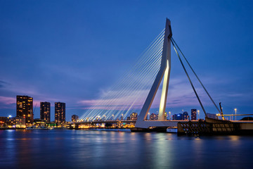 Foto auf Leinwand Rotterdam Erasmus Bridge, Rotterdam, Netherlands