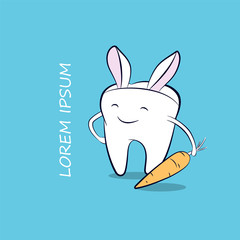 A funny cartoon tooth with carrot and bunny ears. Vector easter illustration for dentistry.