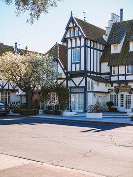 Solvang California. View of the Solvang city streets.California, USA