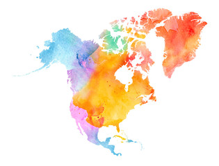 Fototapete - Multicolor Watercolor North America Map on white Background, Side View.