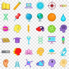 Creative puzzle icons set. Cartoon style of 36 creative puzzle vector icons for web for any design