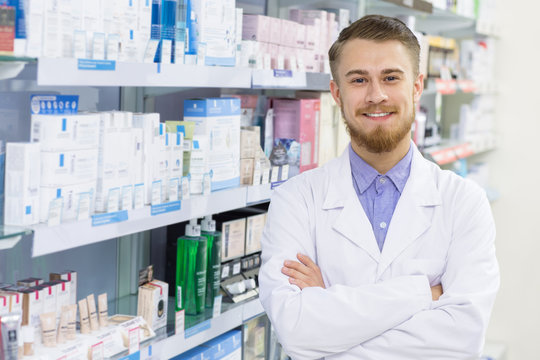Professional pharmacist at the drugstore