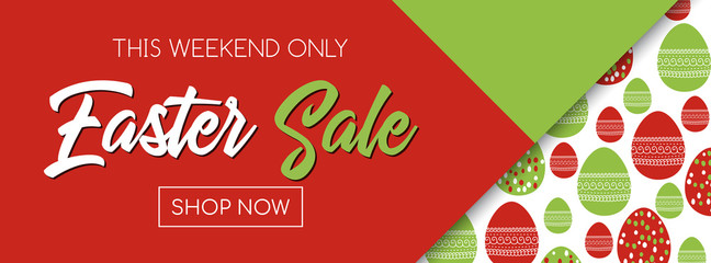 Easter sale vector banner template. Shop now. Pattern with easter eggs