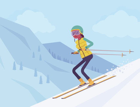 Active sporty woman skiing downhill, enjoy winter outdoor fun on resort with beautiful snowy nature mountain view, professional wintertime tourism, recreation. Vector flat style cartoon illustration