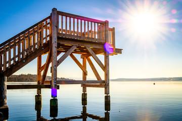 wooden diving platform