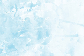 Blue spring watercolor texture with abstract washes and brush strokes on the white paper background. Chaotic abstract organic design.