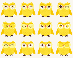 set of emoticons of owl birds in cartoon style