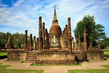 Sukhothai Historical Park In Thailand, Buddha statue, Old Town,Tourism, World Heritage Site, Civilization,UNESCO. Wall mural