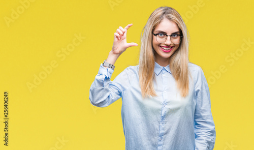 Young Beautiful Blonde Business Woman Wearing Glasses Over