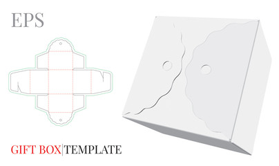 Gift Box Template. Vector with die cut / laser cut lines. Self Lock, Cut and Fold Packaging Design. White, clear, blank, isolated Candy Box mock up on white background with perspective view.