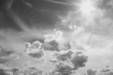 Black and white peaceful heaven background. Horizontal color photography.