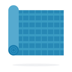 A roll of blue cloth in a cage vector flat isolated