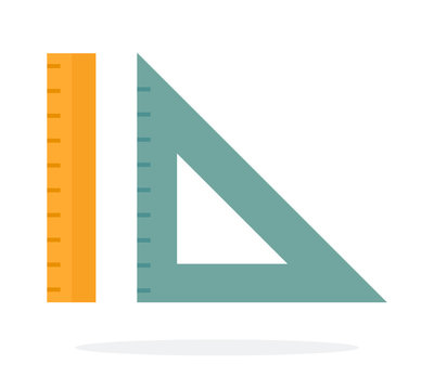 Triangular ruler and straight ruler vector flat isolated