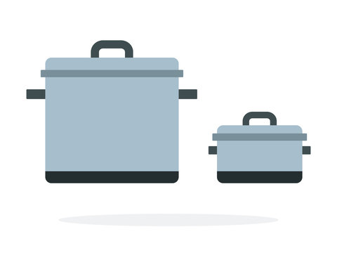 Large and small metal pots vector flat isolated
