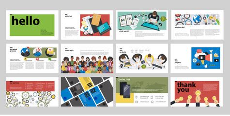 Business presentation templates. Flat vector illustration