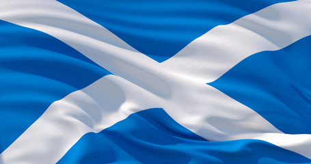 Scotland flag patriotic background, 3d illustration Wall mural