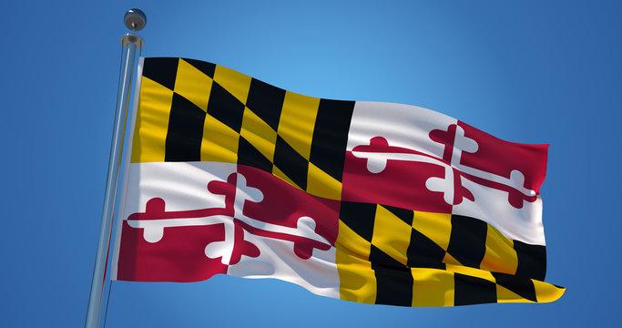 Maryland flag on clear blue sky, patriotic background. 3d illustration
