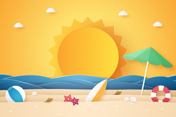 Summer time , sea and beach with stuff  , paper art style