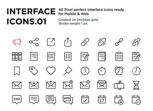 40 Interface Icons 01, pixel perfect, created on 24x24px grid, ready for all mobile platforms, web and print, easy to change color or size