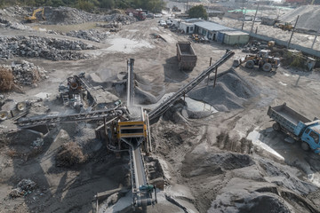 Aerial view of crushed stone quarry machine in a construction material factory
