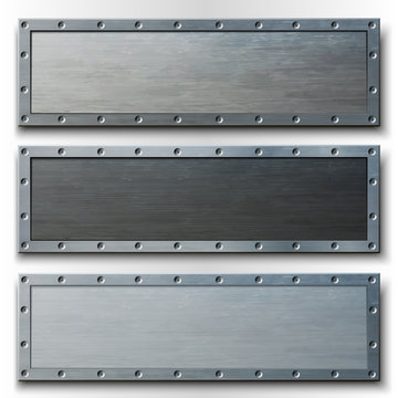 Set of three horizontal metal banners.