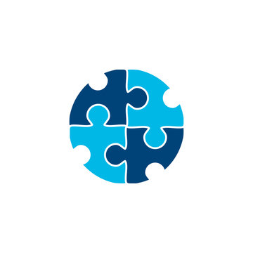 puzzle logo design vector