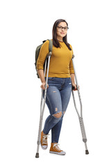 Female student with crutches