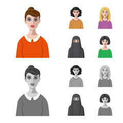 Vector design of hairstyle and profession  icon. Collection of hairstyle and character  stock symbol for web.