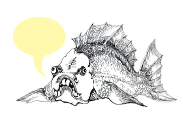 The fish tells you some words, a picture with a callout. Funny picture for postcard. Black and white image ink drawing.
