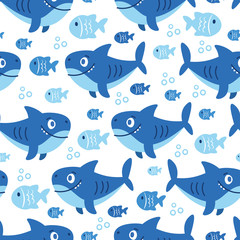 Cute sea vector animals of the deep: fish and shark.  Cartoon seamless pattern on a color background. It can be used for backgrounds, surface textures, wallpapers, pattern fills