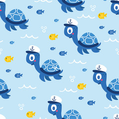 Cute sea vector animals of the deep: fish and turtle.  Cartoon seamless pattern on a color background. It can be used for backgrounds, surface textures, wallpapers, pattern fills