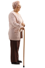 Old lady with a cane standing