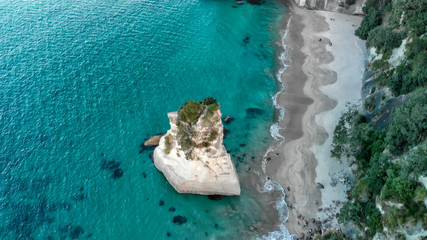 Printed roller blinds Cathedral Cove Cathedral Cove coastline at sunset. Amazing aerial view from drone, New Zealand